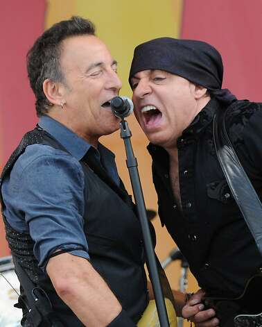 NEW ORLEANS, LA - APRIL 29:  Bruce Springsteen and Steven Van Zandt of Bruce Springsteen and the E Street Band performs during the 2012 New Orleans Jazz & Heritage Festival Day 3 at the Fair Grounds Race Course on April 29, 2012 in New Orleans, Louisiana.  (Photo by Rick Diamond/Getty Images) Photo: Rick Diamond, Getty Images