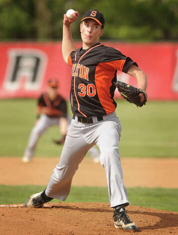 Shelton's Ryan Testani delivers to the plate in their boys baseball matchup with Fairfield Prep at Fairfield University on Monday, April 30, 2012. Shelton won the game 5-0. Photo: Brian A. Pounds / Connecticut Post