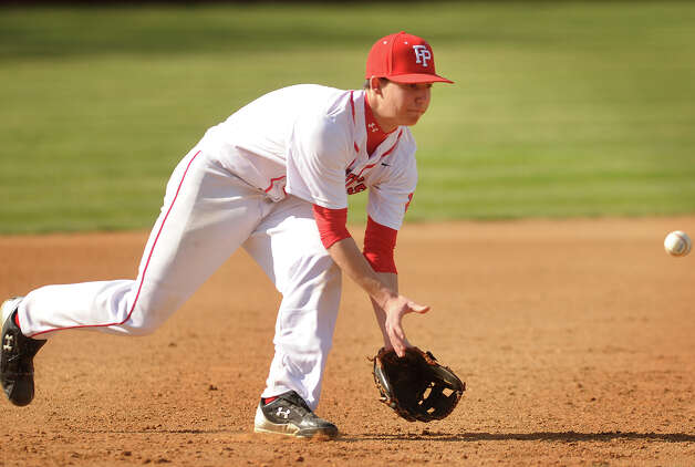 Fairfield Prep third baseman David Gerics field a ground ball in the fourth inning of their boys baseball matchup with Shelton at Fairfield University on Monday, April 30, 2012. Photo: Brian A. Pounds / Connecticut Post