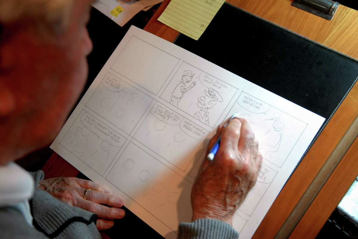 Mort Walker works on his Sunday Beetle Bailey strip in his studio at home in Stamford, Conn. on Monday April 30, 2012.