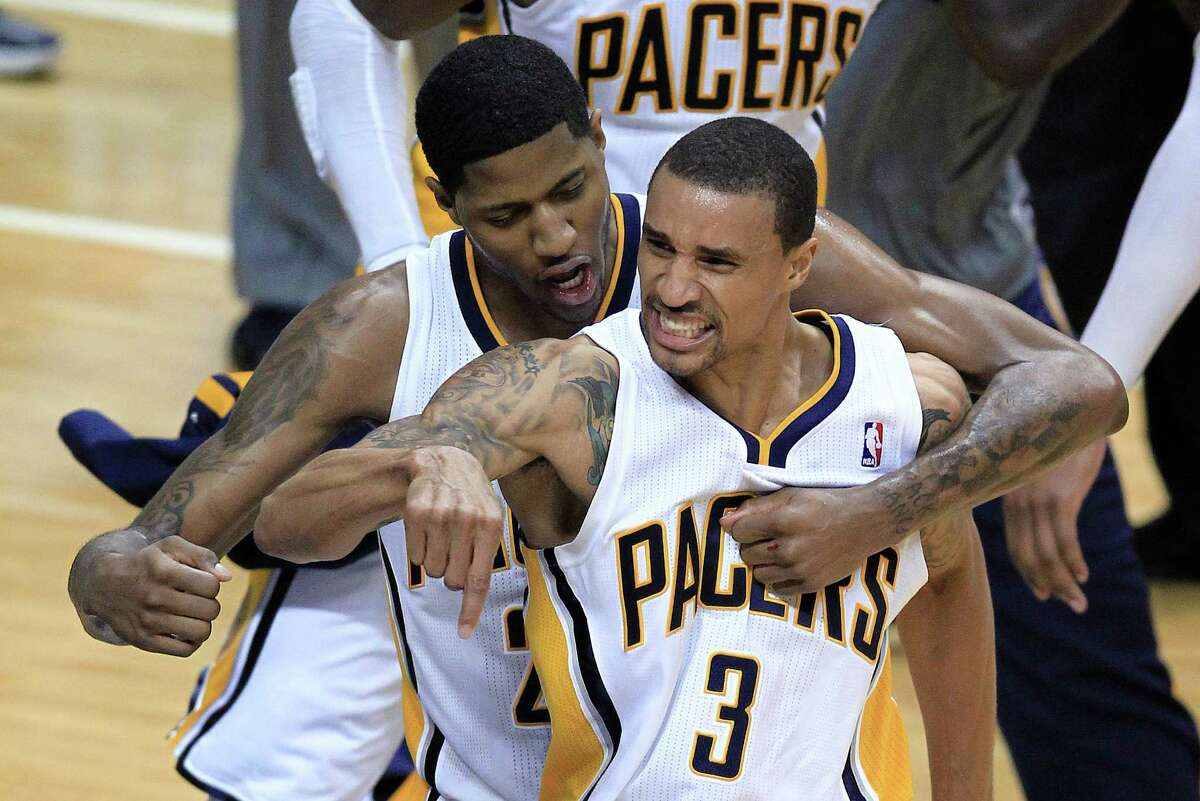 Former George Hill (3), who helped the Pacers to the second round of the playoffs, was rewarded with a new contract by Indiana.