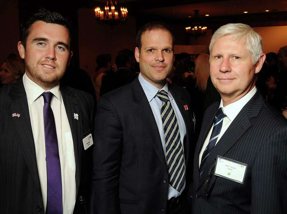 From left: Ben Taylor, Edward Jones and Simon  Naylor at the UK Energy Excellence reception at the Hilton Post Oak Hotel Monday, April 30, 2012. (Dave Rossman Photo) Photo: Dave Rossman, For The Chronicle / © 2012 Dave Rossman