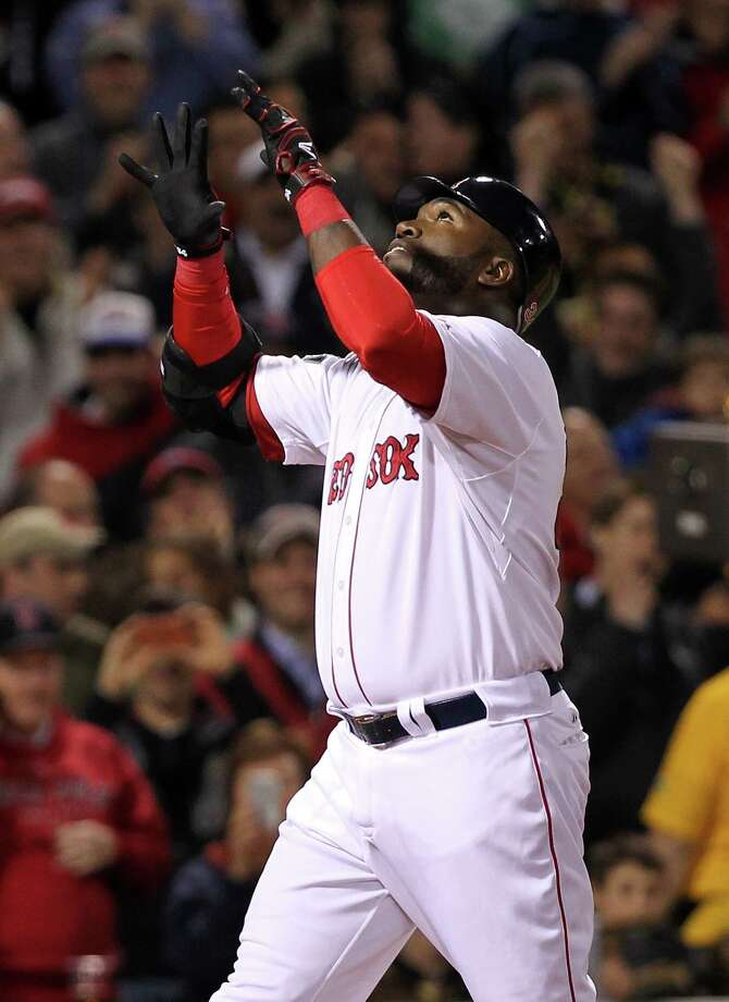 BOSTON, MA - APRIL 30:  David Ortiz #34 of the Boston Red Sox reacts after hitting a second home run off of Tommy Milone #57 of the Oakland Athletics in the fifth inning at Fenway Park April 30, 2012  in Boston, Massachusetts. (Photo by Jim Rogash/Getty Images) Photo: Jim Rogash