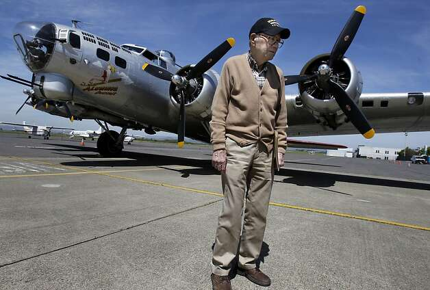 Earnest Conatser, 90 years, stopped by for the arrival of the B-17. Conatser flew over thirty bombing missions on a similar aircraft, but decided against a ride on the plane.  A B-17 Flying Fortress from World War II flew into Napa airport Monday April 30, 2012 for a tour. The B-17 played an important role in the American war effort against Germany.  The Aluminum Overcast, a four engine bomber, will be offering flights and ground tours this weekend at Napa Airport. Photo: Brant Ward, The Chronicle