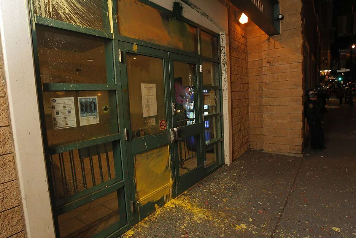 Police and merchants were hit by vandals along Valencia Street in San Francisco, Calif., on Monday, April 30. 2012.