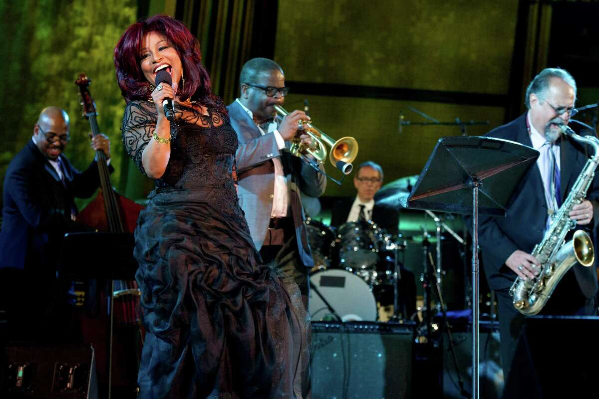 Chaka Khan, front, performs during the International Jazz Day Concert held at the United Nations General Assembly Hall in New York, Monday, April 30, 2012.