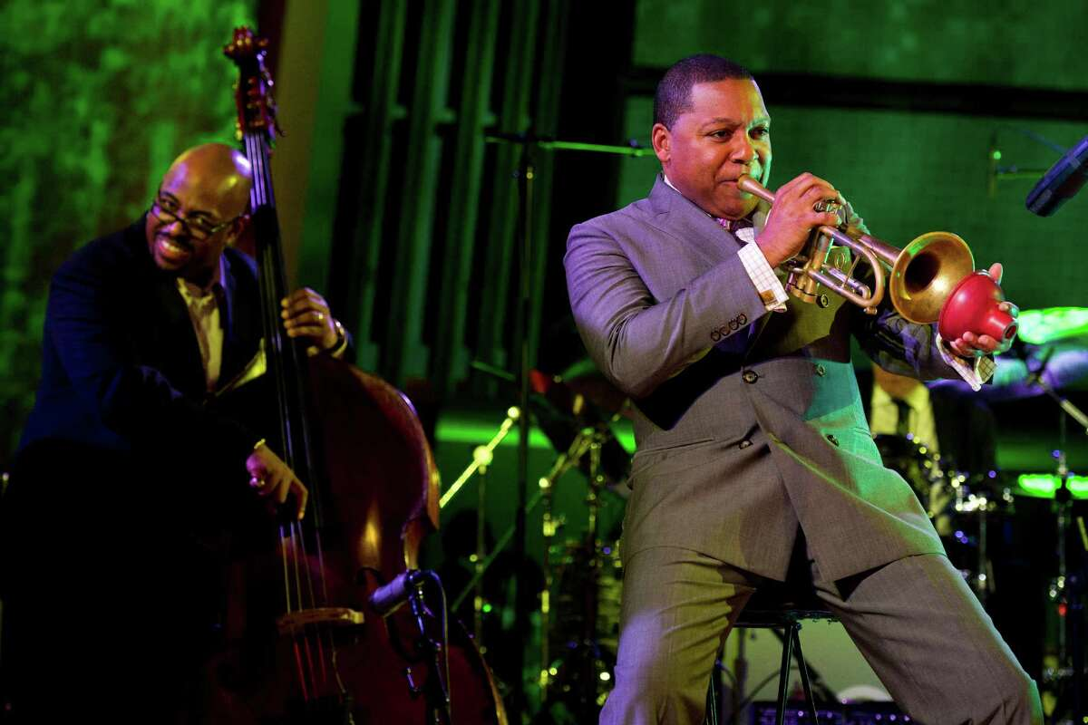 Wynton Marsalis, right, performs during the International Jazz Day Concert held at the United Nations General Assembly Hall in New York, Monday, April 30, 2012.