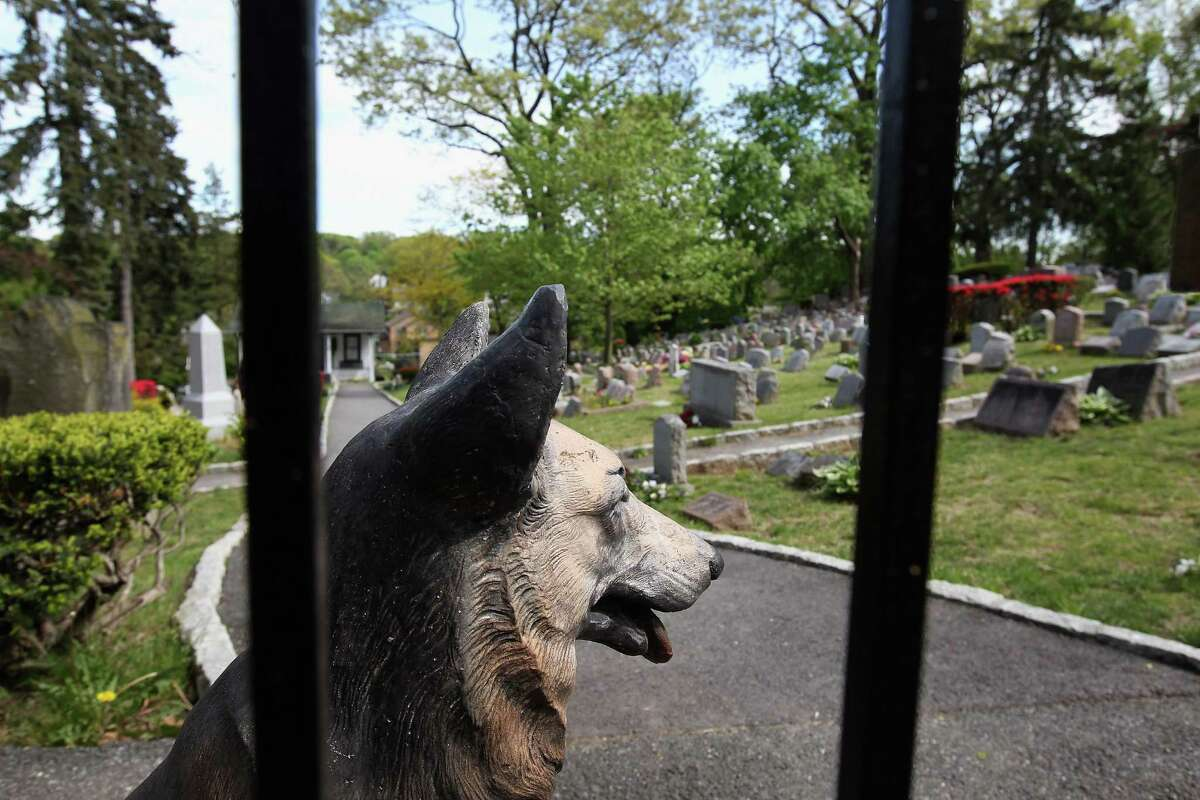 HARTSDALE, NY - APRIL 30: A statue stands at the entrance of the Hartsdale Pet Cemetery and Crematory on April 30, 2012 in Hartsdale, New York. The cemetery, established in 1896, is the oldest pet cemetery in the United States and serves as the final resting place for tens of thousands of pets. Pet owners can spend as much as $20,000 for a large plot to bury multiple pets and as little as $300-400 for small plots to bury ashes if they choose cremation. Pet owners also have the option of eventually having their own ashes buried in the plot, alongside their pets.
