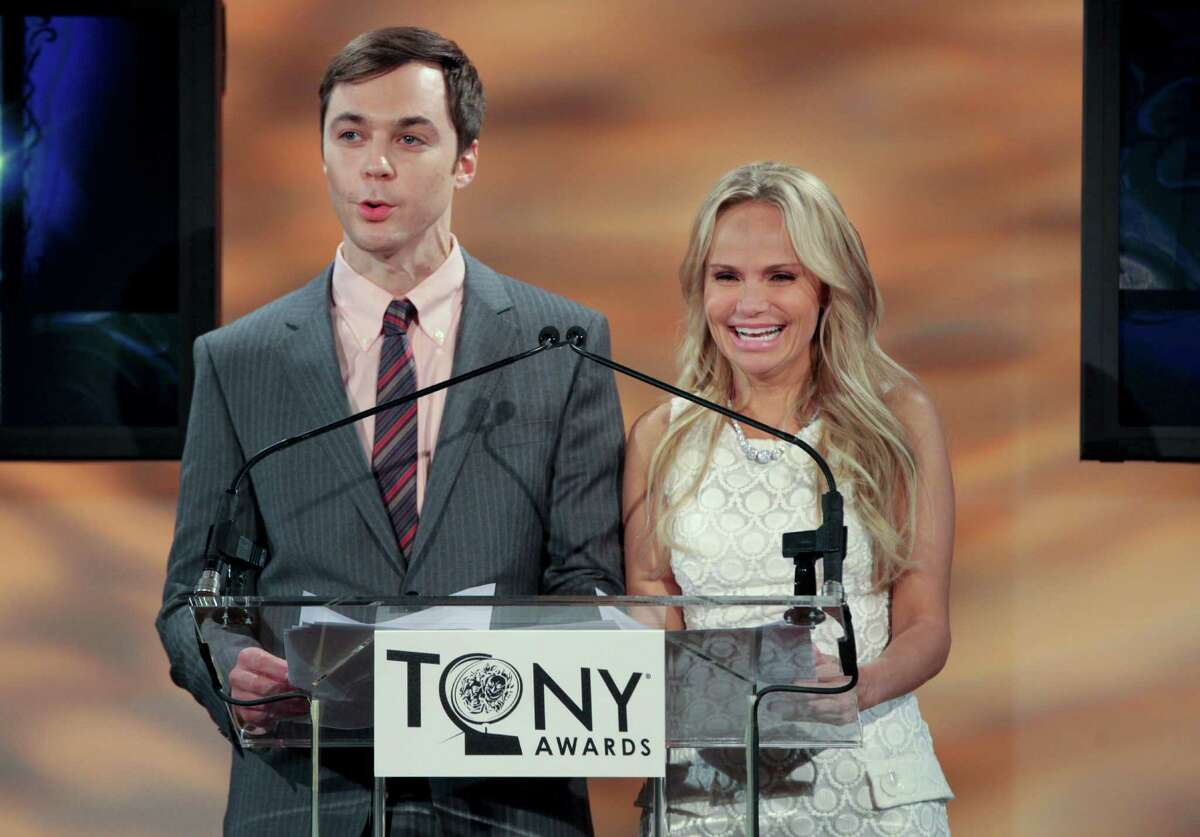 Jim Parsons, left, and Kristin Chenoweth announce nominations for the 66th annual Tony Awards at the New York Public Library for Performing Arts, in New York, May 1, 2012. The new Broadway musical