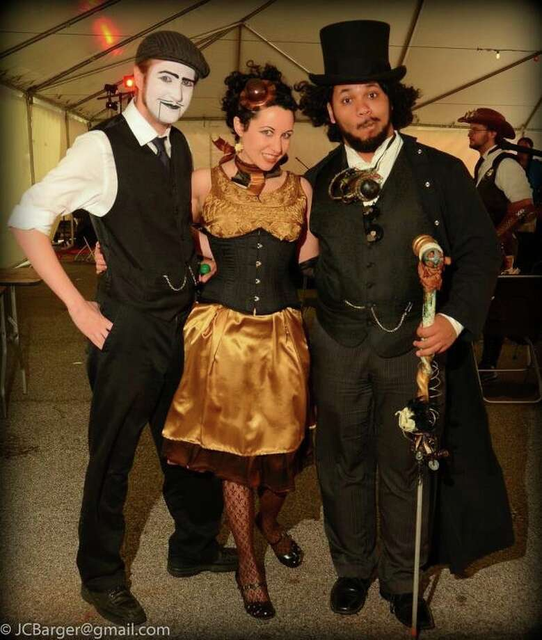 "The AetherFest steampunk convention Friday through Sunday (May 4-6) at the St. Anthony Hotel promises plenty of retro-futuristic fun. Pictured are (left to right) Cameron ""Sixpence"" Hare, Erica ""Unwoman"" Mulkey and Pablo ""Mr. Saturday"" Vazquez III. Photo: J.C. Barger"