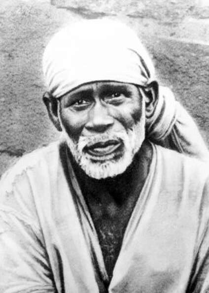 The traditional image of Sai Baba, a man considered a saint by Sufi Muslims, and a manifestation of