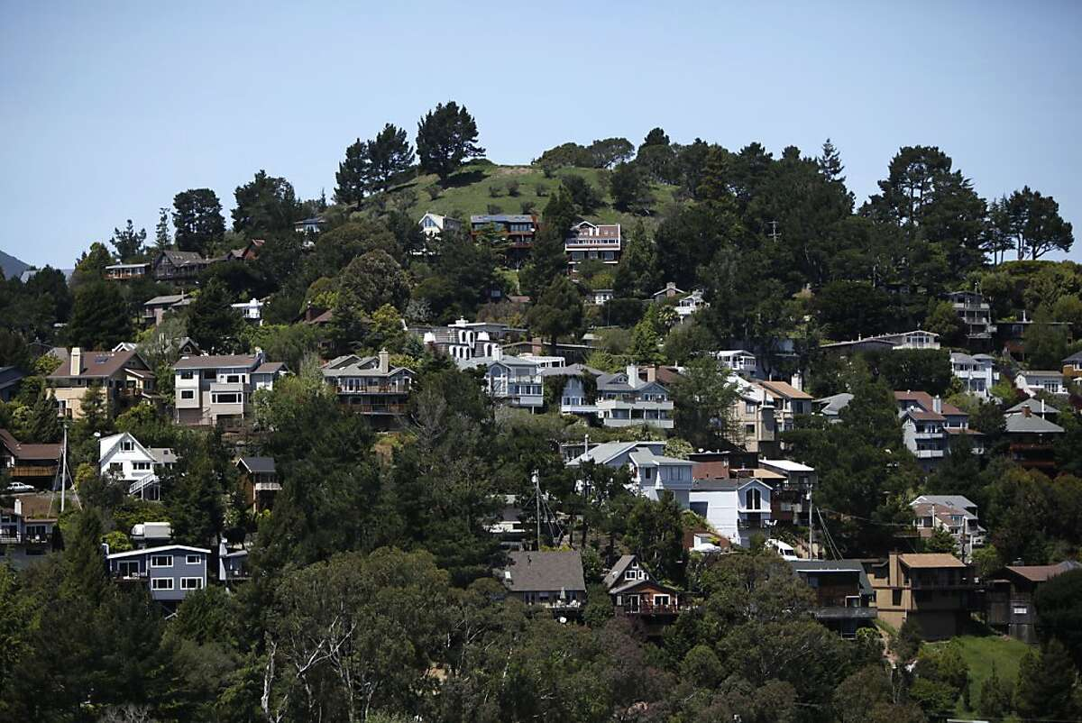 Mill Valley has been rated one of the top 20 best small towns in America by Smithsonian magazine. View of homes nestled in the hills of Mill Valley, California , on Friday, April 27th, 2012.