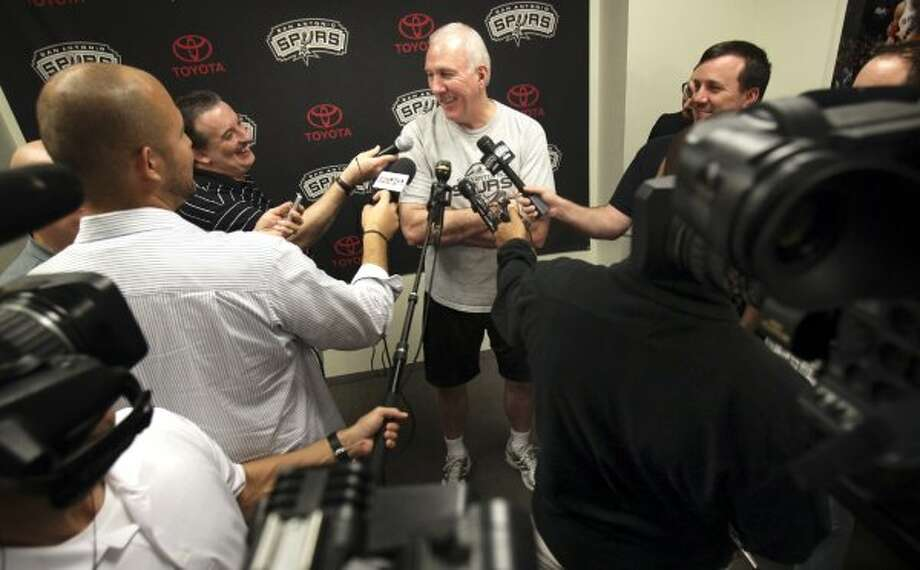 San Antonio Spurs Coach Gregg Popovich talks to the media at the Spurs practice facility in San Antonio, Friday, Dec. 2, 2011.  Photo Bob Owen/rowen@express-news.net (San Antonio Express-News)
