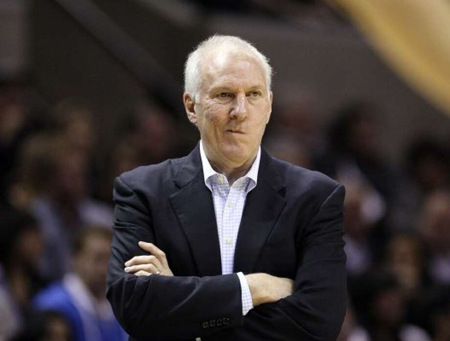 FOR SPORTS - San Antonio Spurs head coach Gregg Popovich looks on during first half action Thursday Jan. 5, 2012 at the AT&T Center.  (PHOTO BY EDWARD A. ORNELAS/eaornelas@express-news.net) (EDWARD A. ORNELAS / SAN ANTONIO EXPRESS-NEWS)