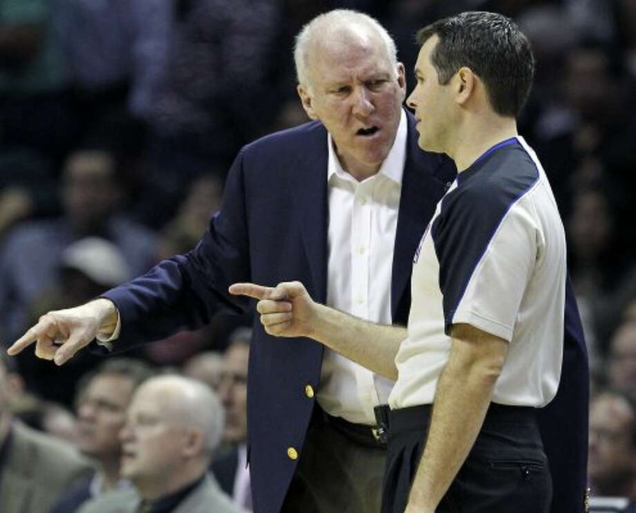 Gregg Popovich argues a call with the referee as the Spurs play Sacramento at the AT&T Center in San Antonio on January 20, 2012 Tom Reel/ San Antonio Express-News (SAN ANTONIO EXPRESS-NEWS)