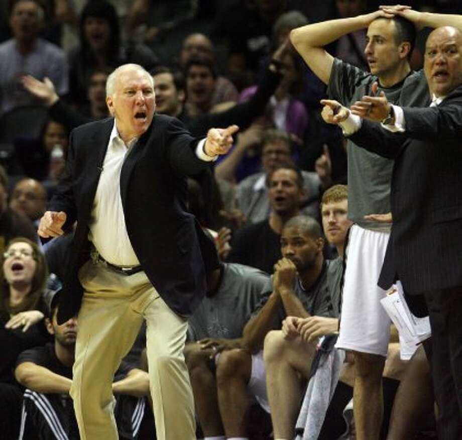 Spurs head coach Gregg Popovich yells at a referee after a call in the second half Spurs vs Nuggets, Sunday, March 4, 2012. The Nuggets beat the Spurs 99-94. (JENNIFER WHITNEY) (JENNIFER WHITNEY / SPECIAL TO THE EXPRESS-NEWS)