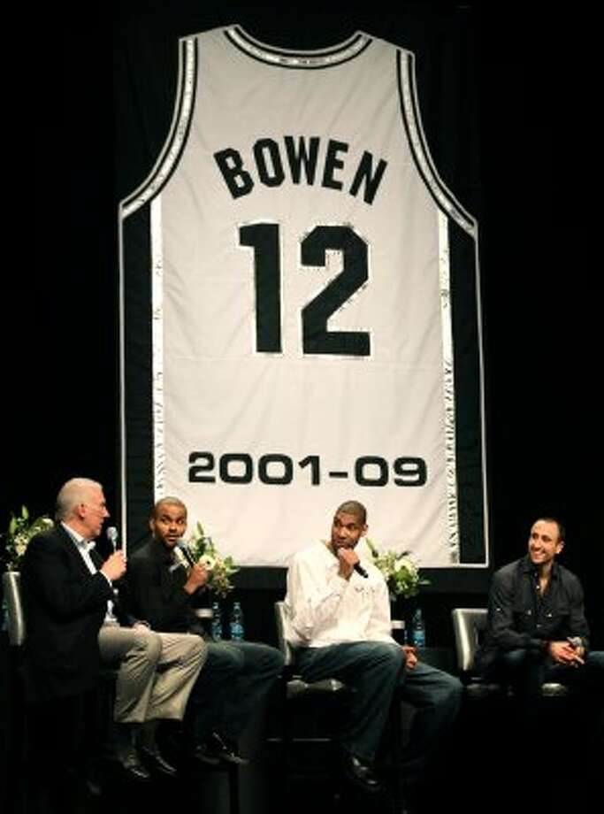 Coach Gregg Popovich, left to right, Tony Parker, Tim Duncan, and Manu Ginobili, tell stories about Bruce Bowen at his Jersey Retirement Luncheon at the ATT Center, Monday, March 19, 2012.  Bob Owen/San Antonio Express-News. (BOB OWEN / San Antonio Express-News)
