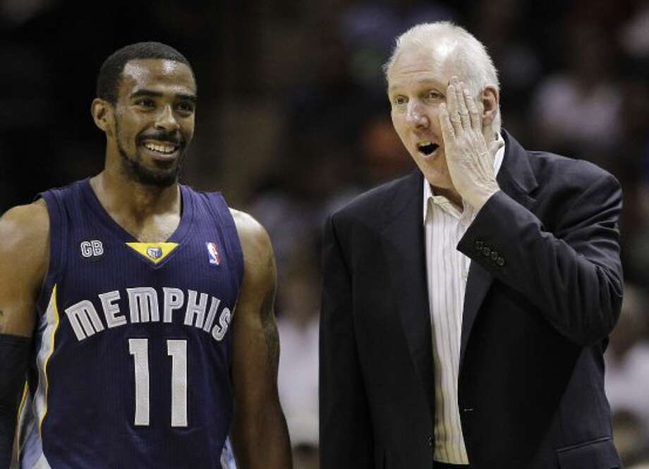 San Antonio Spurs coach Gregg Popovich, right, talks with Memphis Grizzlies' Mike Conley (11) during the first quarter of an NBA basketball game on Thursday, April 12, 2012, in San Antonio. (AP Photo/Eric Gay) (AP)