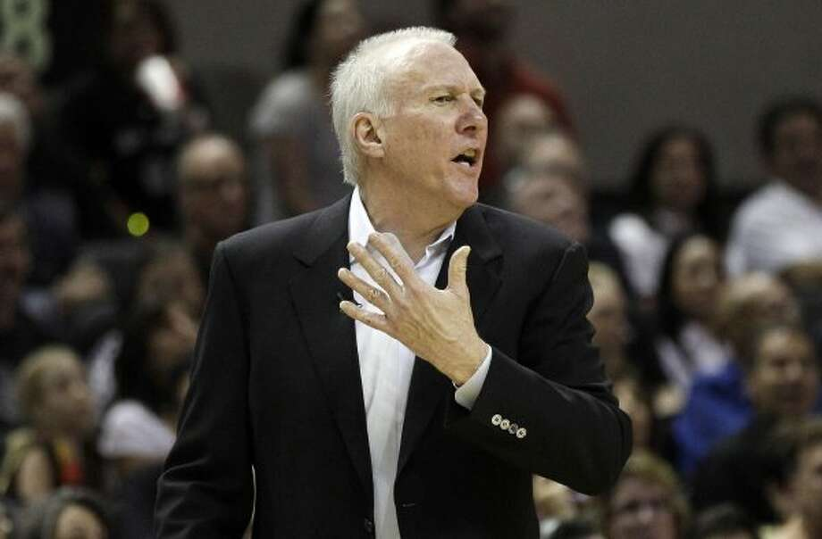 San Antonio Spurs head coach Gregg Popovich argues a call during the fourth quarter of Game 1 of a first-round NBA basketball playoff series against the Utah Jazz, Sunday, April 29, 2012, in San Antonio. San Antonio won 106-91.(AP Photo/Eric Gay) (AP)