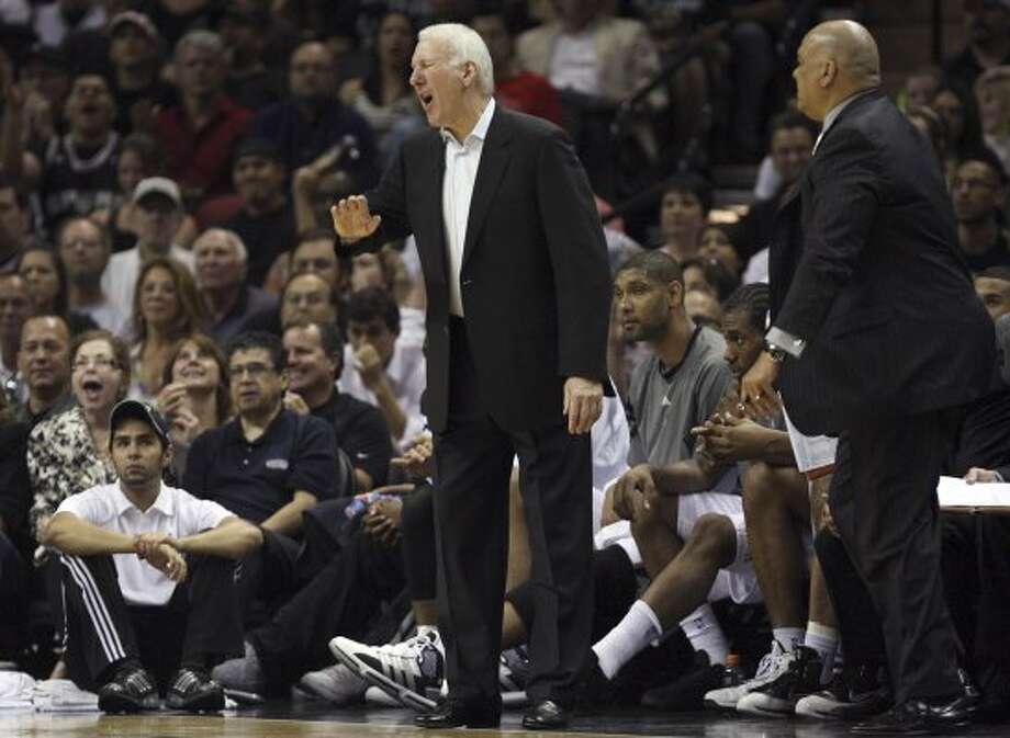 SPURS -- San Antonio Spurs Head Coach Gregg Popovich gets a technical foul during the second half of game one of the Western Conference first round at the AT&T Center, Sunday, April 29, 2012. The Spurs beat the Utah Jazz, 106-91, to lead the series 1-0. Jerry Lara/San Antonio Express-News (San Antonio Express-News)