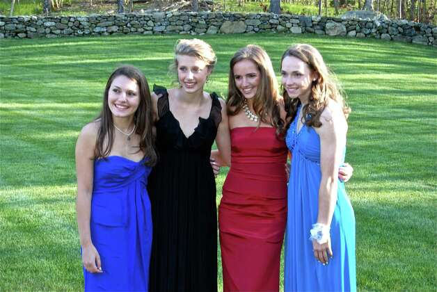 Samantha Esposito, Sara Greene, Bridget Falcone, and Caroline Fitzpatrick during a pre-prom party, Friday night, April 27.  Photo by Savannah Shepard. Photo: Contributed Photo