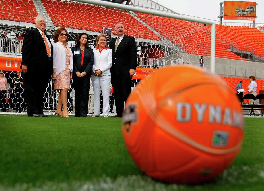 Tom Sprague, Harris County Houston Sports Authority Board of Directors; Philamena Baird, HCHSA Board of Directors; Janis Schmees, Harris County-Houston Sports Authority; Sylvia Garcia, former Harris County Precinct Two Commisioner; Jack Cagle, Harris County Precinct 4, pose for a photograph prior to the Houston Dynamo and BBVA Compass Stadium ribbon-cutting ceremony on Tuesday, May 1, 2012, in Houston. Photo: Mayra Beltran, Houston Chronicle / © 2012 Houston Chronicle