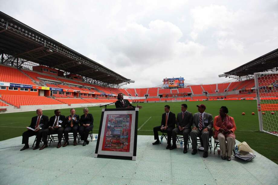 Rep. Al Green addresses dignitaries and guest during the Houston Dynamo and BBVA Compass Stadium ribbon-cutting ceremony on Tuesday, May 1, 2012, in Houston. Photo: Mayra Beltran, Houston Chronicle / © 2012 Houston Chronicle