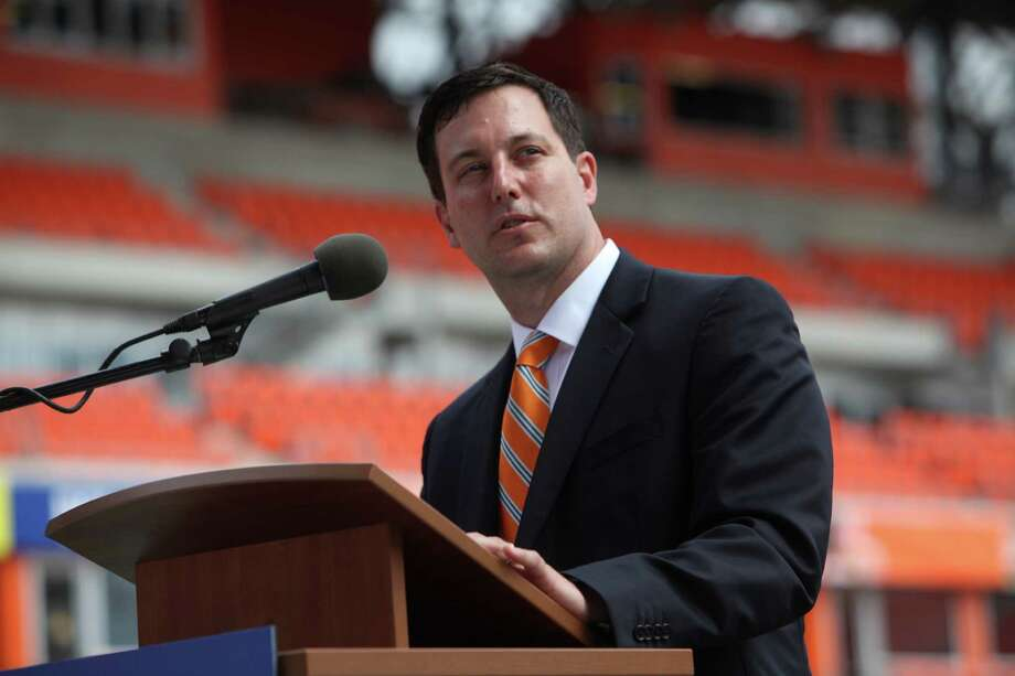 Dynamo President Chris Canetti speaks to dignitaries and guest during the Houston Dynamo and BBVA Compass Stadium ribbon-cutting ceremony on Tuesday, May 1, 2012, in Houston. Photo: Mayra Beltran, Houston Chronicle / © 2012 Houston Chronicle
