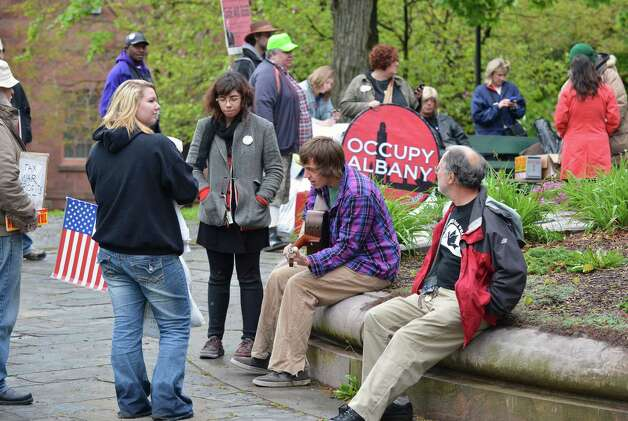 Occupy Albany protesters begin to assemble in Lafayette Park in Albany Tuesday afternoon May 1, 2012.    (John Carl D'Annibale / Times Union) Photo: John Carl D'Annibale / 00017486A
