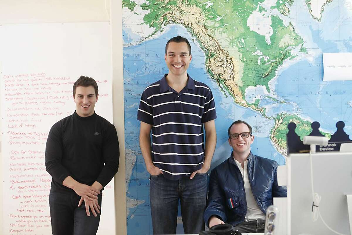 The co-founders of airbnb, Brian Chesky Nathan Blecharczyk and Joe Gebbia stand for a portrait in the SOMA headquarters on Tuesday March 16, 2010 in San Francisco, Calif. Their company provides an online listing for regular people looking to rent their couch or a spare room to travelers.