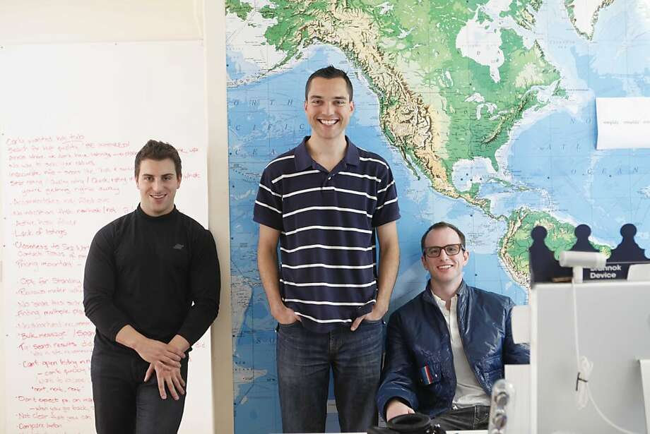 The co-founders of airbnb, Brian Chesky Nathan Blecharczyk and Joe Gebbia stand for a portrait in the SOMA headquarters on Tuesday March 16, 2010 in San Francisco, Calif. Their company provides an online listing for regular people looking to rent their couch or a spare room to travelers. Photo: Mike Kepka, The Chronicle