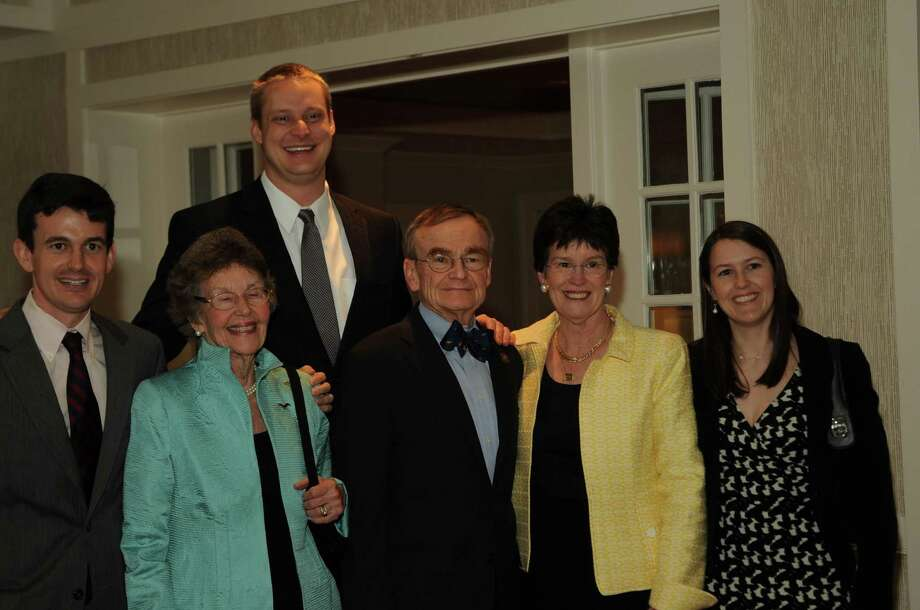 State Rep. John Hetherington (R-125) was surrounded by his family at the April 13 RTC Lincoln Dinner observance of his retirement from the Connecticut Legislature. From left, son Kells; mother-in-law Joy Luke; son-in-law Gregory Loop; Hetherington; wife Hope Hetherington; and daughter Jane Loop. Photo: Contributed Photo