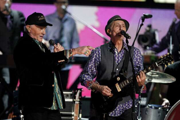 Mike Love, left, and David Marks, of The Beach Boys, perform during the 54th annual Grammy Awards on Sunday, Feb. 12, 2012 in Los Angeles. Photo: Contributed Photo/Matt Sayles, Associated Press / The News-Times Contributed