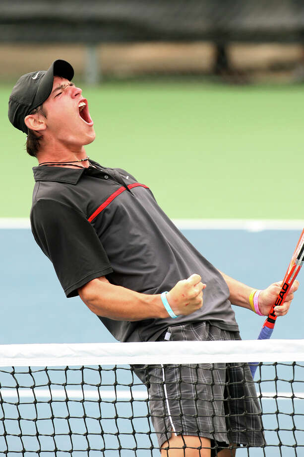 Churchill's Tito Moreiras reacts as he beats Nick Nauman, of Conroe Woodlands in the 5A boys singles finals of the UIL Tennis State Tournament at World of Tennis in Lakeway, Tx, Tuesday, May 1, 2012. Moreiras won 7-5 and 7-5.  Jerry Lara/San Antonio Express-News Photo: Jerry Lara, Express-News / © San Antonio Express-News
