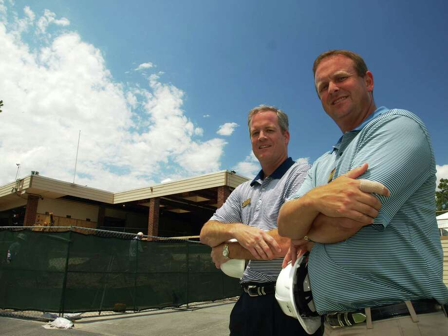 Kingwood Country Club general manager Patrick Pettit, left, and director of golf Darrell Fuston are overseeing the redesign of the main clubhouse. Photo: Mike Bailey