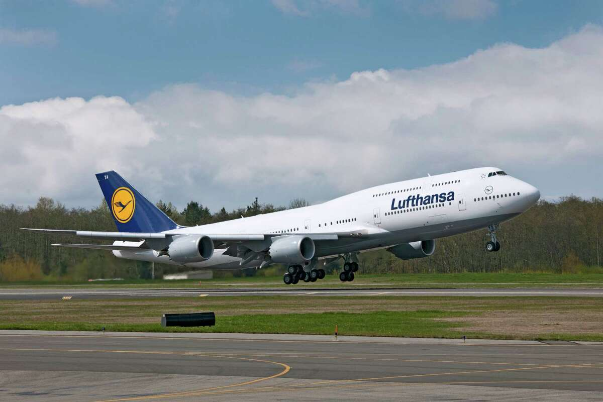 Lufthansa's first Boeing 747-8 Intercontinental takes off from Paine Field, in Everett, Wash., bound for Frankfurt, Germany, on May 1, 2012.