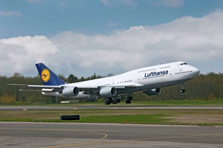Lufthansa's first Boeing 747-8 Intercontinental takes off from Paine Field, in Everett, Wash., bound for Frankfurt, Germany, on May 1, 2012. Photo: Gail Hanusa / Copyright © 2012 Boeing. All Rights Reserved.