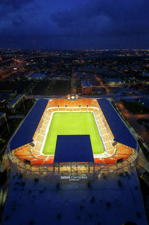 BBVA Compass Stadium, the new home of the Houston Dynamo soccer team, is seen in an aerial photo on Sunday, April 29, 2012, in Houston. Photo: James Nielsen, Chronicle / © 2012 Houston Chronicle
