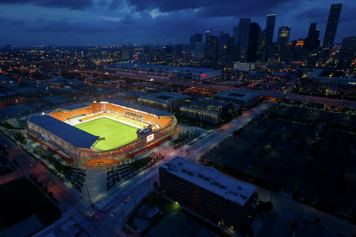 BBVA Compass Stadium, the new home of the Houston Dynamo soccer team, is seen against the downtown Houston skyline in an aerial photo on Sunday, April 29, 2012.