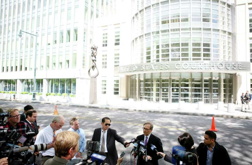 Robert Gottlieb, a defense attorney for Adis Medunjanin, speaks to reporters outside the U.S. District Court in the Brooklyn borough of New York, May 1, 2012. Medunjanin was convicted of a host of terrorism charges Tuesday for participating in a plot led by al-Qaida to stage suicide attacks in the New York subways. (Kirsten Luce/The New York Times)