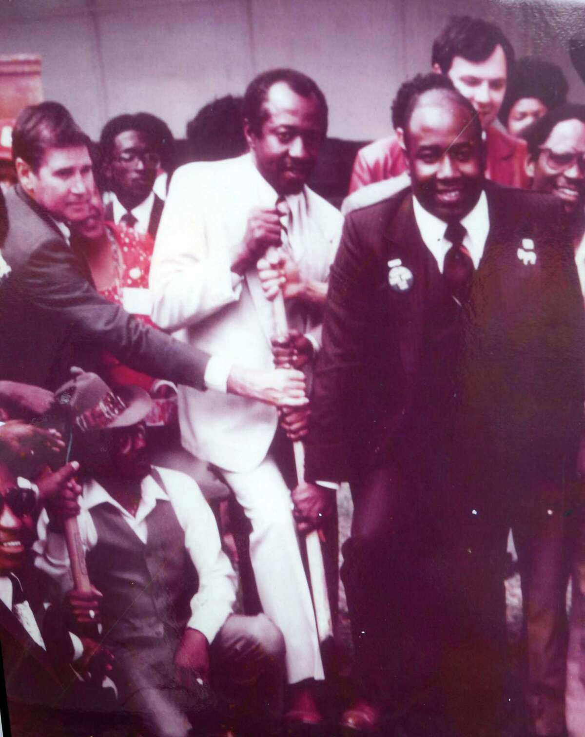 Ovide Duncantell, center, helped plant the Dr. Martin Luther King Tree of Life, in 1983.