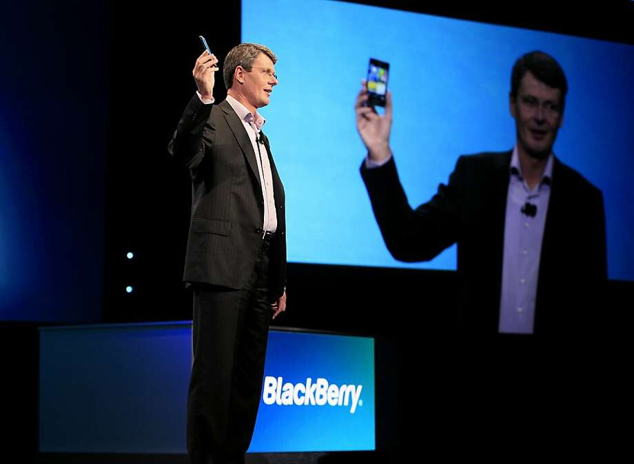 Thorsten Heins, president and chief executive officer of Research In Motion Ltd. (RIM), speaks at the BlackBerry World Conference in Orlando, Florida, U.S., on Tuesday, May 1, 2012. Research in Motion Ltd. is struggling to maintain the interest of developers, who are flocking to Apple's iOS or Google Inc.'s Android., and have sought to entice developers with an early look at the new BlackBerry 10 phones, which are due later this year. Photographer: Julie Fletcher/Bloomberg *** Local Caption *** Thorsten Heins Photo: Julie Fletcher, Bloomberg