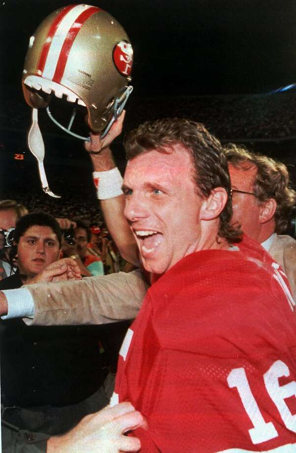 Joe Montana after a 20-16 victory over the Bengals in Super Bowl XXXIII in Miami on Jan 23, 1989. Photo: Darr Beise, Associated Press