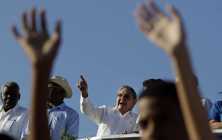Cuba's President Raul Castro attends a May Day march in Revolution Square in Havana, Cuba, Tuesday, May 1, 2012.  (AP Photo/Javier Galeano, Pool) Photo: Javier Galeano, Associated Press