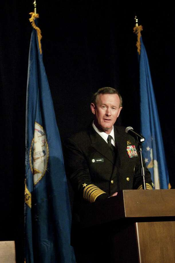 Guest speaker of the annual Champions of Justice Gala for Veterans Admiral William H. McRaven, of the U.S. Navy, speaks about commanding the Osama Bin Laden mission, at the AT&T Executive Education & Conference Center in Austin May 1, 2012. Photo: Rebeca Rodriguez, AP / Rebeca Rodriguez