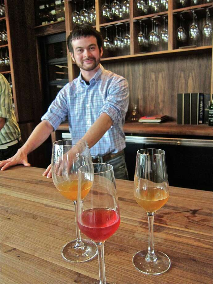 """Chris Frankel, former bartender at Anvil Bar & Refuge, now crafts inventive liquor-free """"cocktails"""" using his own aromatized wines (wines infused with botanical ingredients) at Underbelly, where only wine and beer is served. Photo: Alison Cook"""