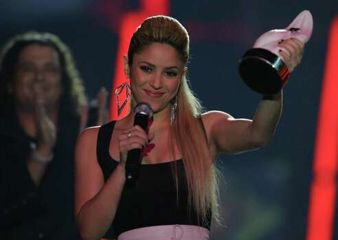 **COMMERCIAL IMAGE ** In this image released by PictureGroup, Shakira appears on the Los Premios MTV 2009 video awards at the Great Hall of the Convention Center on Sunday, Oct. 11, 2009, in Bogota, Colombia. Photo: PictureGroup