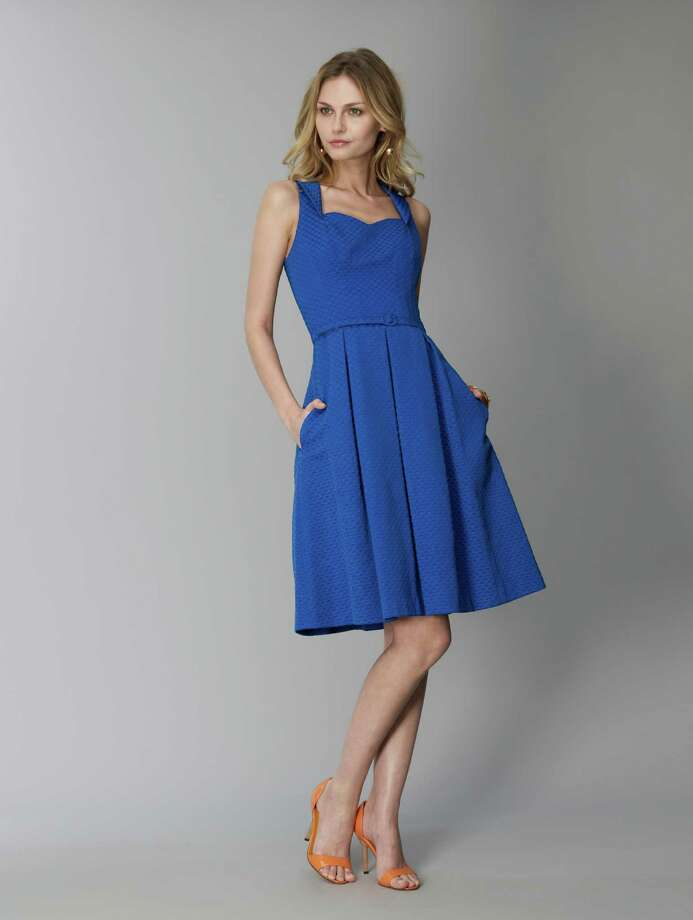 David Meister's collection features a flirty blue sweetheart dress, $415. Photo: Courtesy David Meister