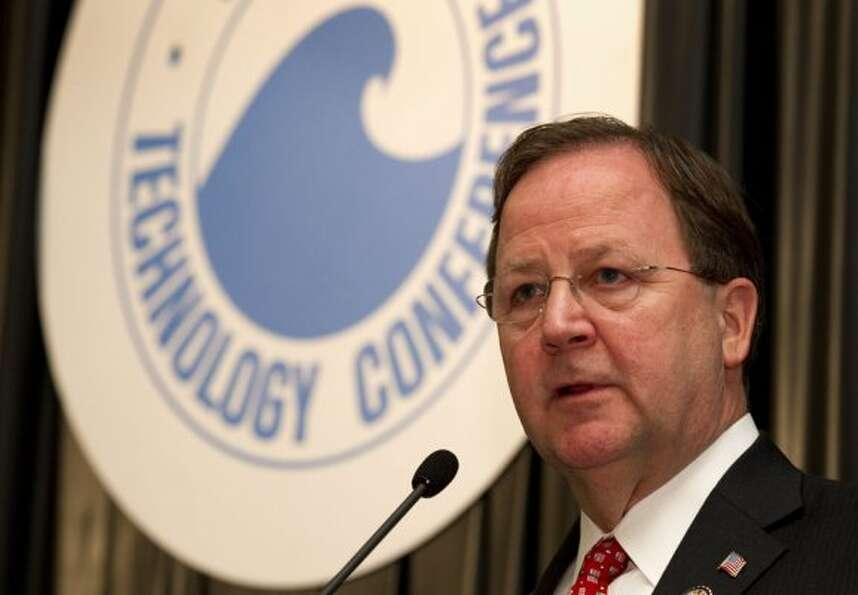Rep. Bill Flores, R-Bryan, speaks about U.S. energy policy during the conference Wednesday. (Brett C