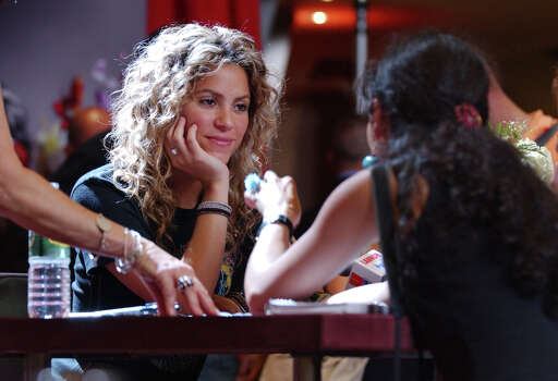 "Shakira, the international Lebanese/Colombian music  superstar pauses while listening to a question from a member of the press during her appearance at New York's Virgin Record Store to  promote her new album ""Fijacion Oral"", Wednesday, June 8, 2005. Photo: JENNIFER SZYMASZEK, AP / AP"